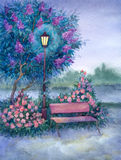 Watercolor landscape. Glowing lantern near the bench in spring p Royalty Free Stock Images