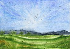 Watercolor landscape with green field and mountains stock photography