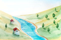 Watercolor landscape. Watercolor hand painted landscape with river, houses and trees royalty free illustration