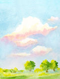 Watercolor  landscape Stock Photos