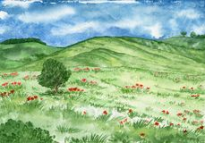Watercolor landscape with hills and meadow with a lone tree. vector illustration