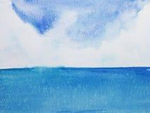 watercolor landscape horizon sea. royalty free illustration