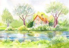 Watercolor landscape, house on the river, forest, lawn. Pastel p. Watercolor landscape, house on the river,   Bright picture of suuny day. Illustration suit for Royalty Free Stock Photos