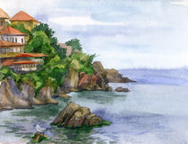Watercolor landscape with houses Stock Images