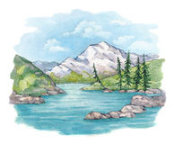 Watercolor illustration of  lake and mountains Stock Photos