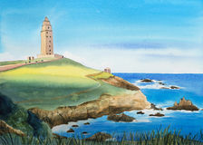 Watercolor Landscape Illustration. Spain, The Tower of Hercules. Royalty Free Stock Photography