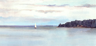 Watercolor landscape - island, sky with clouds and white sail. Stock Photo