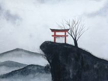 Watercolor landscape japanese gate on the mountain and dead tree cover fog. stock photography