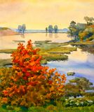 Watercolor landscape. At the lake autumn came royalty free illustration