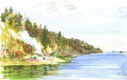 Watercolor landscape Stock Images