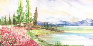 Watercolor nature landscape Royalty Free Stock Photos