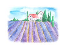 Watercolor landscape with lavender field Stock Images