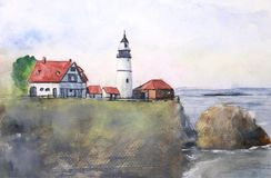 Watercolor landscape lighthouse on sunset vector illustration