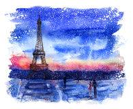 Watercolor landscape. With love from Paris Stock Photos