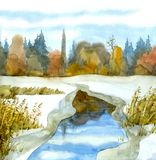 Watercolor landscape. Melted lake among the snow-covered steppe. Sapling near thawed in frozen rivulet on marshy snowbound valley in thickets at bright Royalty Free Stock Photo