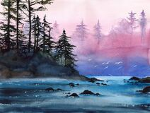Watercolor landscape with misty river