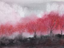 Free Watercolor Landscape Mountain Fog Maple Tree Royalty Free Stock Images - 184458549