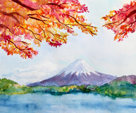 Watercolor landscape with mountain Fujiyama and Stock Images