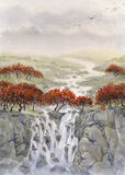 Watercolor landscape. Mountain stream  Stock Images