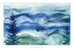 Watercolor landscape of mountains and fir trees. Stock Photo
