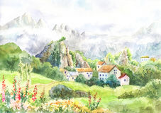 Watercolor landscape with mountains, meadow, village.Cool day in. The Alps. Painting suit for wallpaper, background, poster. Artwork. Mountain Fog. Tour to Royalty Free Stock Image