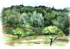 Watercolor  landscape. Mountains on summer landscape by watercolor Stock Images