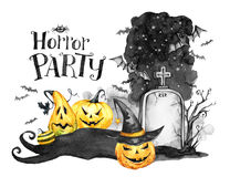 Watercolor landscape. Old grave, holidays pumpkins and flock of bats . Halloween holiday illustration. Magic, symbol of. Horror. Scary Night. Can be use in Stock Photos