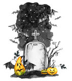 Watercolor landscape. Old grave, holidays pumpkins and flock of bats . Halloween holiday illustration. Magic, symbol of. Horror. Scary Night. Can be use in Stock Photography