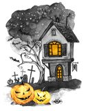 Watercolor landscape. Old house, cemetery and holidays pumpkins. Halloween holiday illustration. Magic, symbol of horror. Scary Night. Can be use in holidays stock illustration