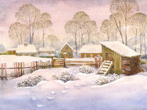 Watercolor landscape of old winter village. Watercolor landscape of winter village. High snow drifts in the yard with an old wooden fence and shed Royalty Free Stock Images