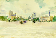 Watercolor landscape original painting colorful of Chao Phraya river, city in Thailand Royalty Free Stock Images