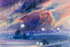 Watercolor landscape original painting colorful of  evening sky Stock Photo
