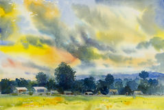Watercolor landscape original painting colorful of Fields mountain Royalty Free Stock Image