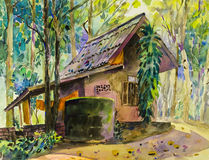Watercolor landscape original painting colorful of house in forest. And parsonage,introspection in green tree emotion background royalty free illustration