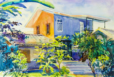 Watercolor landscape original painting colorful of house and garden. Watercolor landscape original painting colorful of house, garden green tree and emotion in royalty free illustration