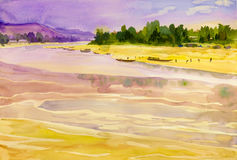 Watercolor landscape original painting colorful of Mekong river Royalty Free Stock Photo
