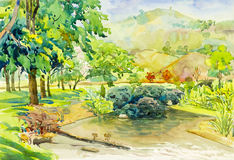 Watercolor landscape original painting colorful of mountain Stock Photos
