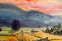 Watercolor landscape original painting  colorful of mountain. Watercolor landscape original painting on paper colorful of village mountain and rice field in the Royalty Free Stock Images