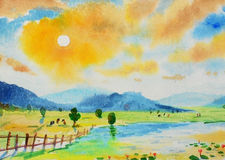 Watercolor landscape original painting colorful of mountain and rice field. In morning sunlight sky cloud  background Royalty Free Stock Photography