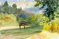 Watercolor landscape original painting colorful of mountain riveพ Royalty Free Stock Photos