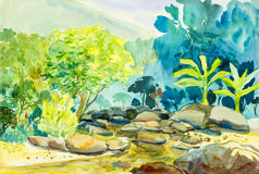 Watercolor landscape original painting colorful of mountain and river Stock Image