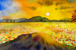 Watercolor landscape original painting colorful of mountain sunset Stock Image