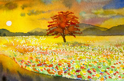 Watercolor landscape original painting colorful of mountain view. Watercolor landscape original painting colorful of mountain flower garden view sunset and Stock Photography