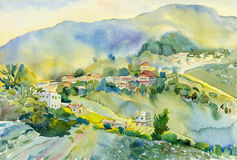 Watercolor landscape original painting colorful of mountain village Stock Image