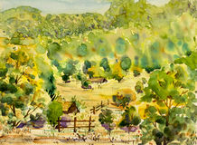 Watercolor landscape original painting colorful of mountain and village hill. With wooden house country and emotion in sky background Royalty Free Stock Image
