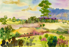 Watercolor landscape original painting colorful of mountain and wooden house Royalty Free Stock Images