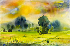 Watercolor landscape original painting colorful of rice field Stock Image