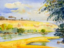 Watercolor landscape original painting colorful of river and mou. Ntain forest with sky cloud  background, in beauty nature autumn season. Painted impressionist Royalty Free Stock Photos