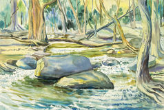 Watercolor landscape original painting colorful of river mountain Stock Photography