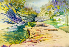 Watercolor landscape original painting colorful of river rocks Royalty Free Stock Photography